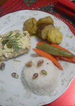 Filete de salmón con pistachos y queso crema