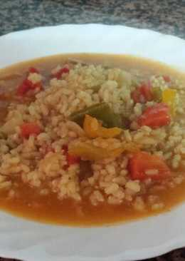 Arroz integral caldoso con verduras multicolor