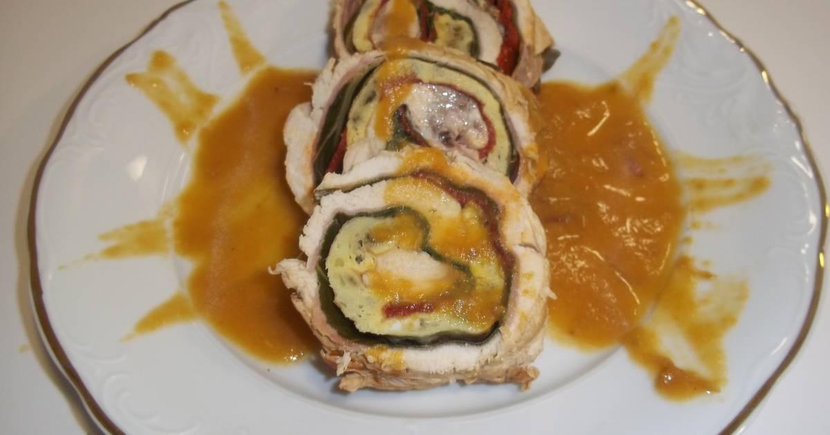 Pechuga de pollo rellena con salsa de vino receta de kiko cookpad - Salsas para pechuga de pollo ...