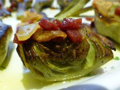 Alcachofas  naturales con jamón rápidas
