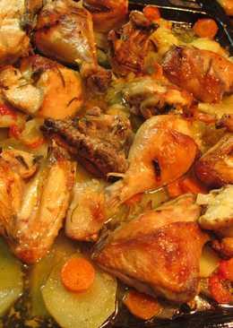 Pollo asado con patatas panaderas