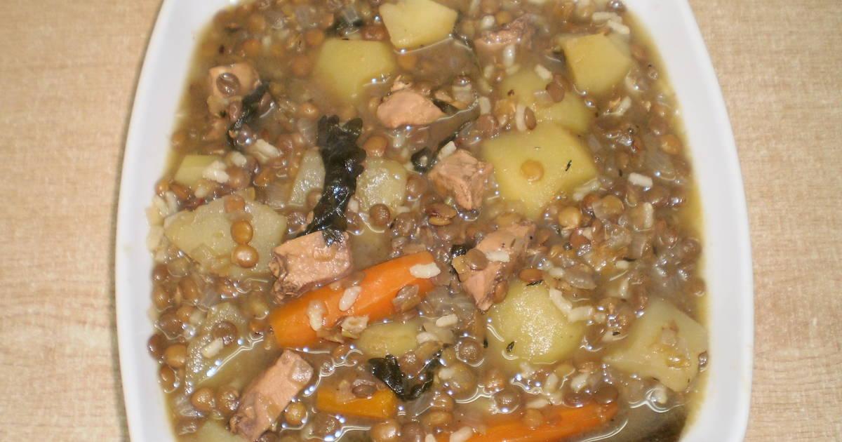 Lentejas con arroz verduras y pollo receta de esteraracil for Cocinar lentejas de bote