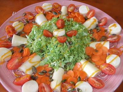 Ensalada de palmitos con salsa de mango