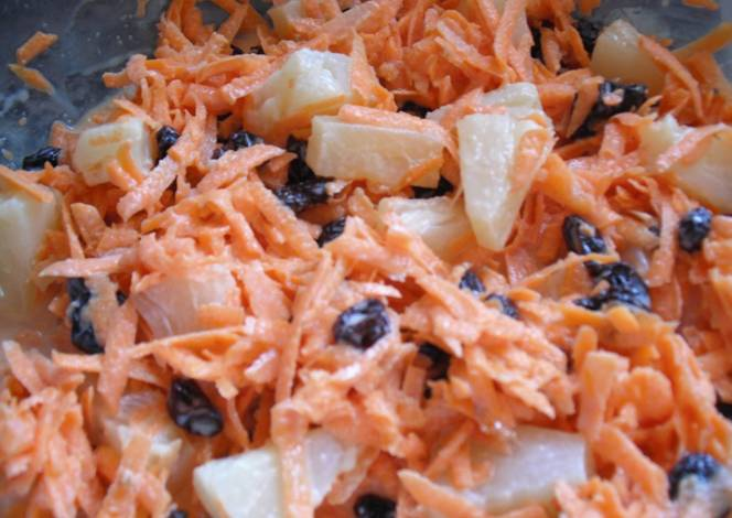 Postre de zanahoria pasas y pi a receta de maggie cookpad - Ensalada de apio y zanahoria ...