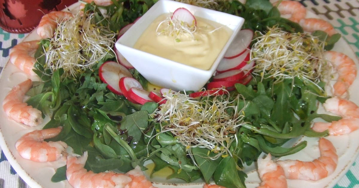 Ensalada de langostinos con salsa mayonesa de lima receta - Ensalada de langostinos ...