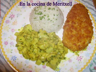 Coliflor con leche de coco y curry