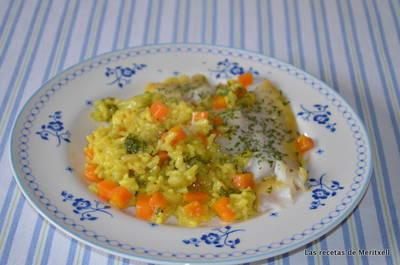 Arroz con verduras y panga