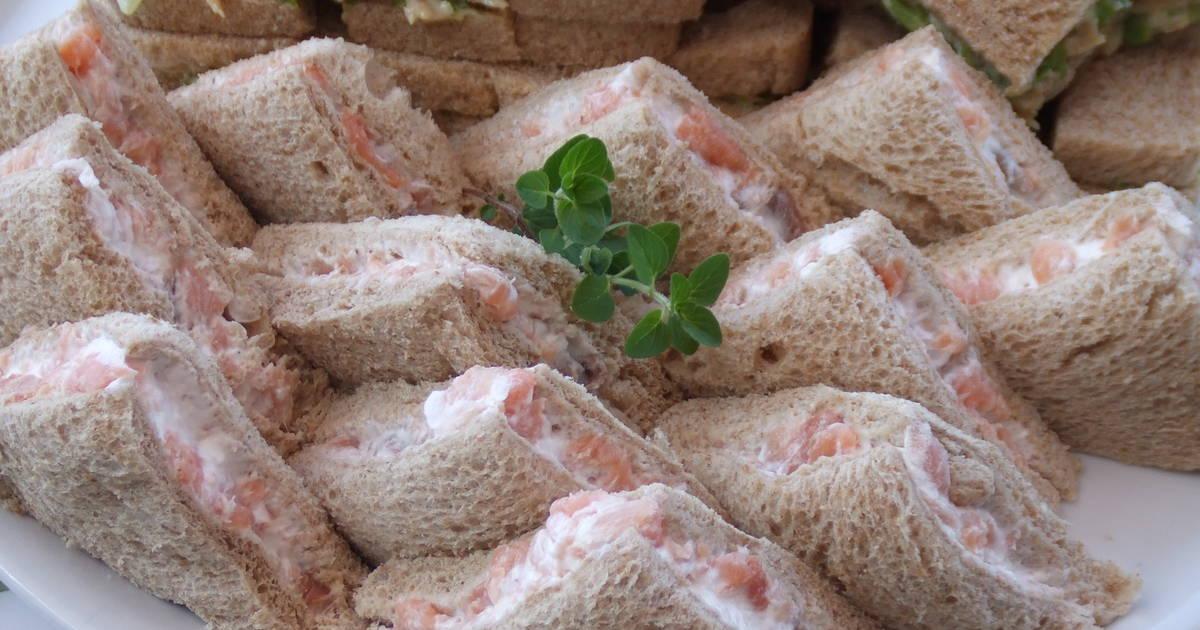 S ndwiches para aperitivo de salm n ahumado y queso receta - Aperitivos de salmon ahumado ...