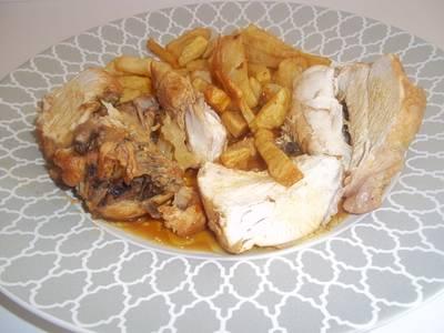 Pollo asado al limón con cacerola