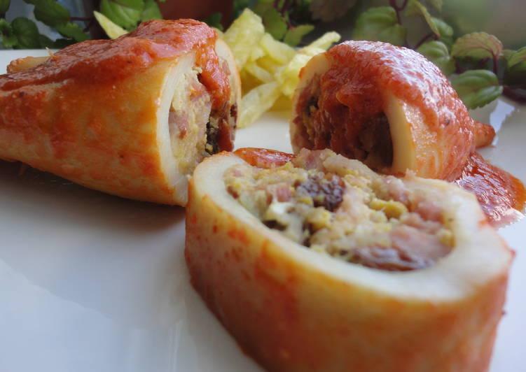 Calamares rellenos en salsa de tomate vienesa receta de - Chipirones rellenos en salsa de tomate ...