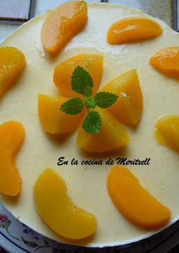 Tarta de yoghurt de melocotón