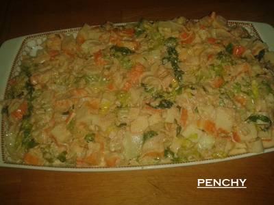 Ensaladilla fresca de surimi con bonito del norte