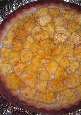 Tarta de crema de coco y piña al ron