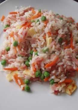 Panceta con arroz y gambas