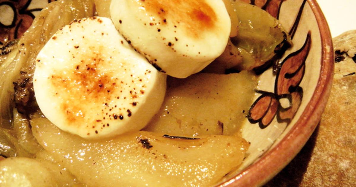 Ensalada caliente de endivias pera y queso de cabra Cocinar queso de cabra