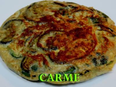 Tortilla de berenjena y espinacas