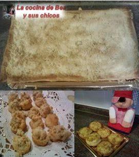 Coca de mollitas (masa de hojaldre)