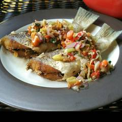 Foto Recook dari Ikan tenggiri sambal matah...pedas,gurih ,segarr...👍