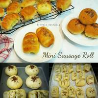 Roti Unyil Sosis Keju Favorit Keluarga ( Mini Sausage roll bun)