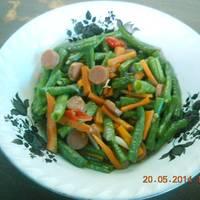 Tumis Babai Worka ( Bakso, Cabai, Wortel dan Kacang Panjang )