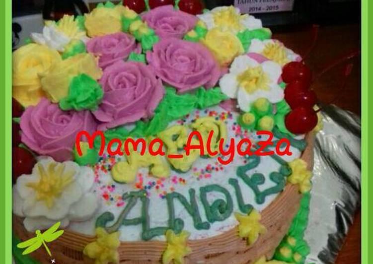 Resep Kue tart bungaRainbow cake kukus oleh MamaAlyaZa Cookpad