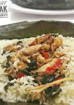 Nasi Bakar Isi Ayam,Teri dan Daun Singkong Enak😋😋