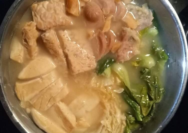 Sup tahu dan sayuran, simple nabe