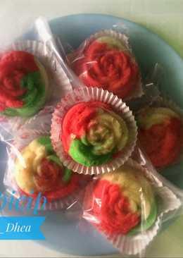 Bolu mawar pelangi (Kukus)