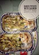 Baked potato with salmon fillet and vegetable olive oil