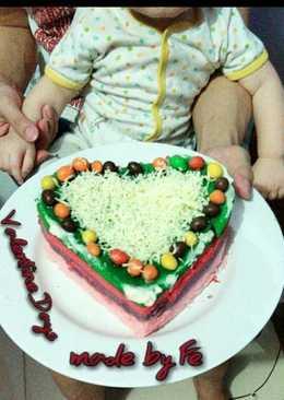 Rainbow cake kukus Ny.Liem edisi VALENTINE ala mommy