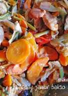 Capcay jamur bakso sosis sayur