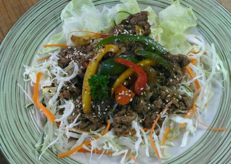 Beef black pepper with ginger sauce