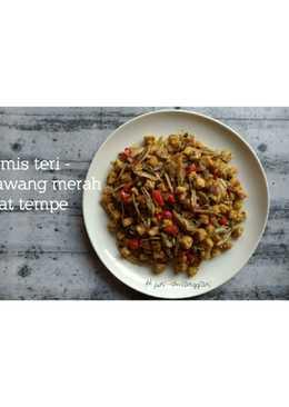 Tumis teri bawang merah feat tempe