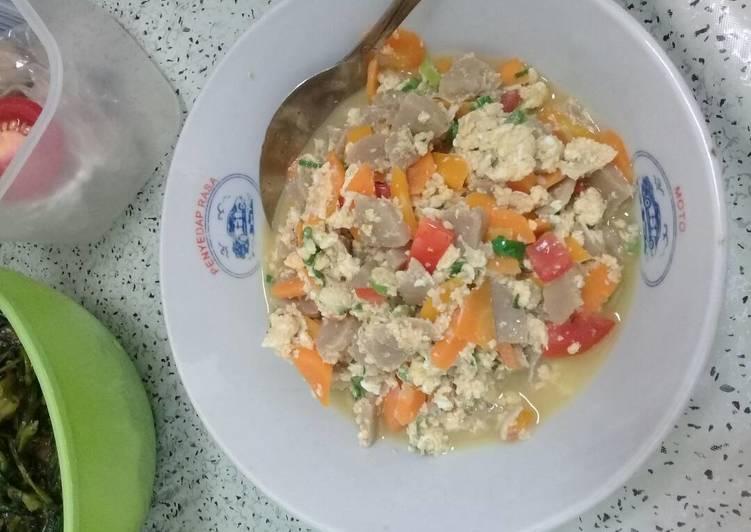 Oseng bakso sayur dan telur (untuk si kecil bisa)
