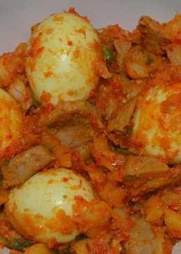 Telur kentang balado dan bakso pedes gila 👹