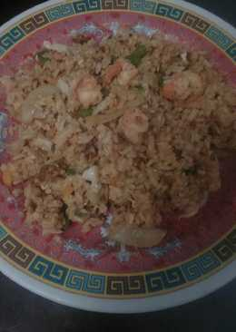 Ayam ala nando's, coselaw, and nasi goreng jagung