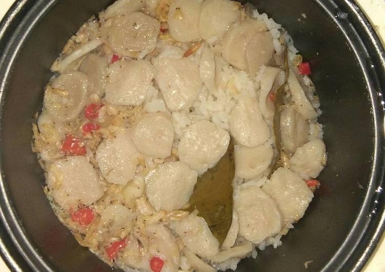 Nasi Liwet Magic com with rebon dan Bakso ala anak kos