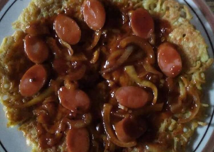 Resep Pizza mie saus sosis lada hitam ?? Kiriman dari Sonia Pingky