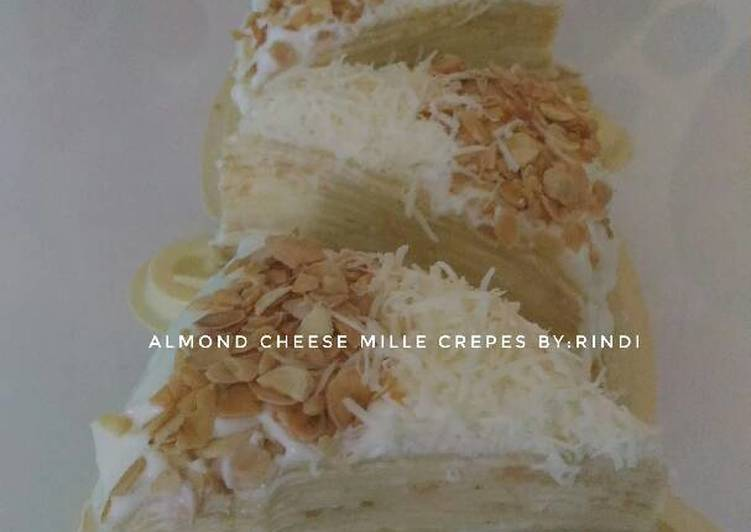 resep makanan Almond cheese mille crepes
