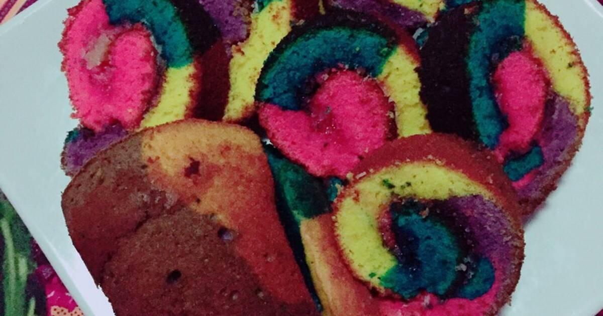 Resep Bolu gulung rainbow keju