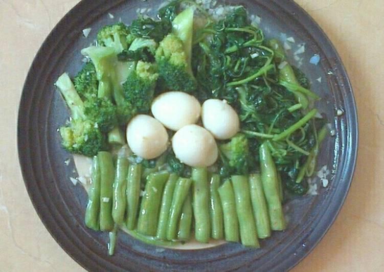 resep masakan B3 Cah Bawang Putih (Bayam, Buncis & Brokoli)