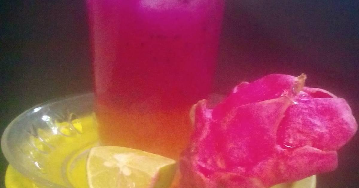 Resep Es buah naga kombinasi jeruk nipis