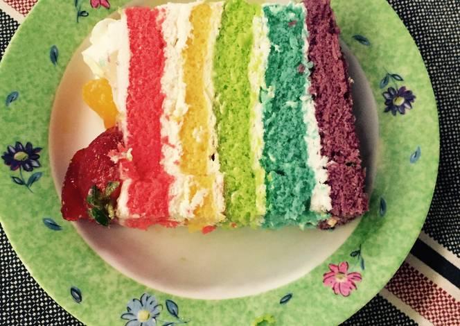 Resep Cake Kukus Simple: Resep Rainbow Cake Kukus With Fruit Oleh Dewi Aprianti