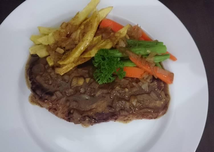 Resep Lemon Sirloin Steak dengan Saus Lada Hitam Kiriman dari Yustitia Ayu