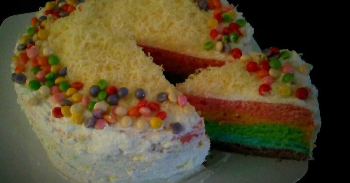 Resep Cake In Jar Rainbow: Resep Rainbow Cake Kukus Oleh AdzkaNaeva