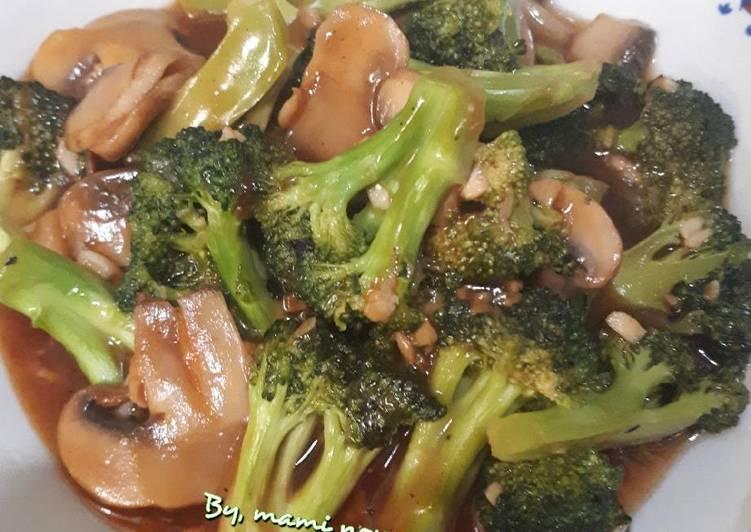 Brokjam (brokoli jamur) saus tiram #BikinRamadhanBerkesan