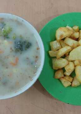 Healthy Mushroom Cream Soup (Krim Sup Jamur Sehat)