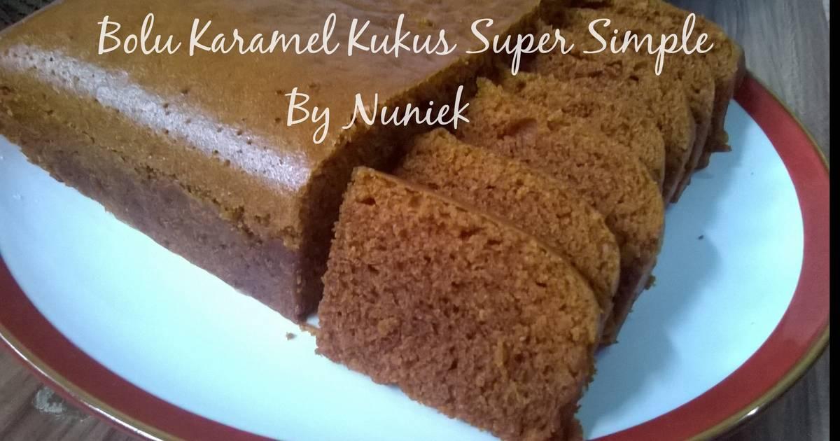 Resep BOLU KARAMEL KUKUS SUPER SIMPLE (Tanpa Mixer, Tanpa Telur)