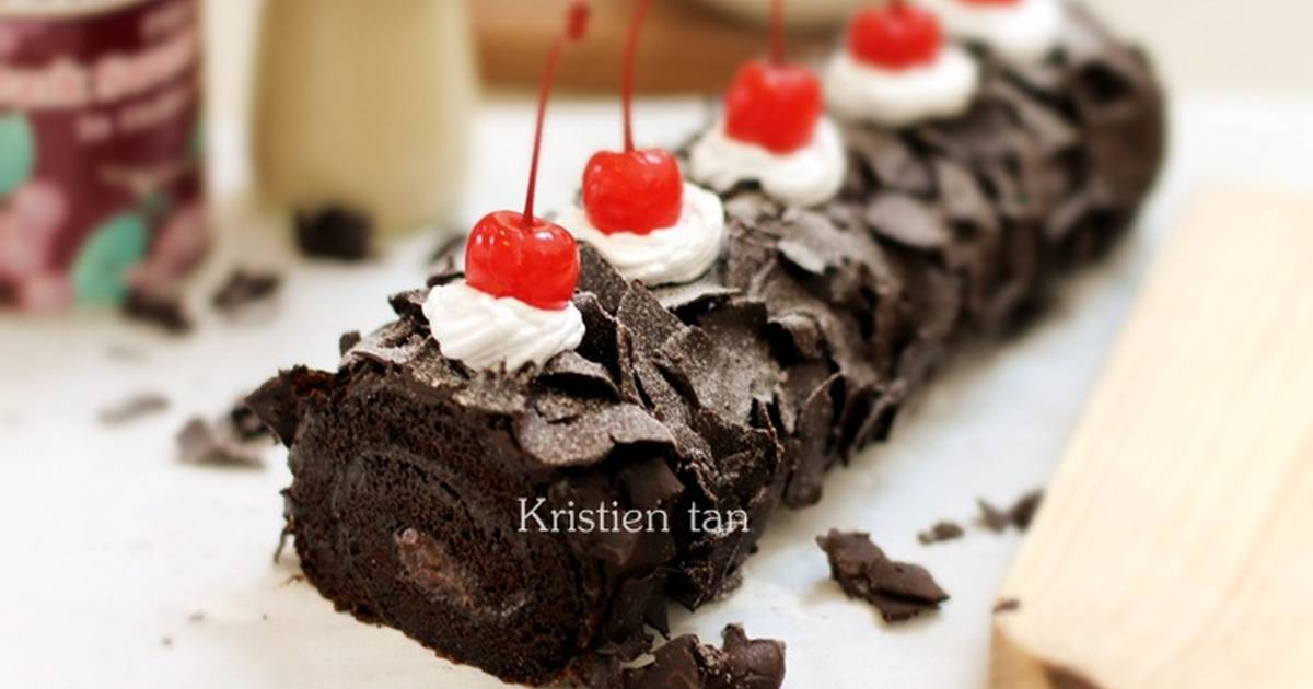 Resep Black Forest Roll Cake 6 telur ^_^V