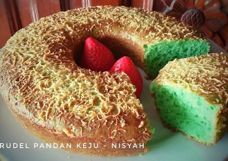 bahan dan cara membuat Brudel Pandan Keju 2 Telur. TANPA Timbangan & Mixer ~ Cake rasa roti yg empuk. ??